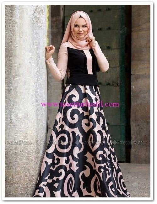 Muslima Wear siyah pudra desenli etek-340 TL