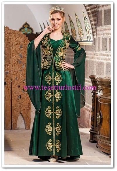 Seyranlı moda yeşil mahinev tafta bindallı