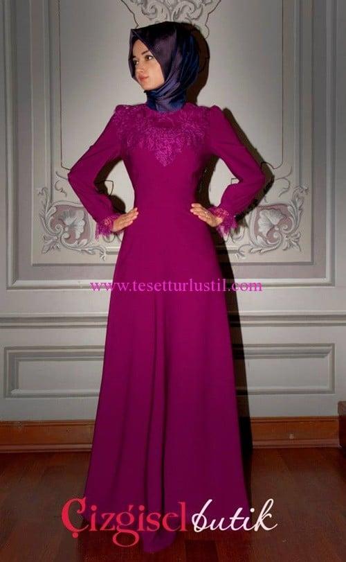 Çizgisel Butik fuşya abiye elbise