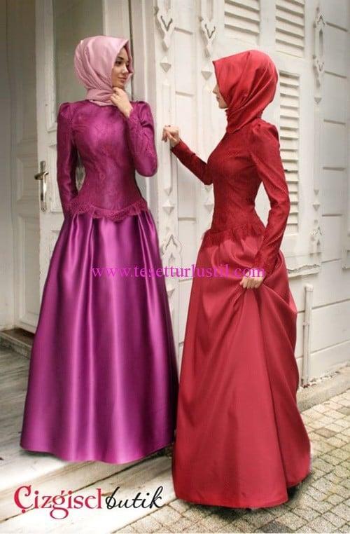 Çizgisel Butik kabarık etekli abiye elbise modelleri