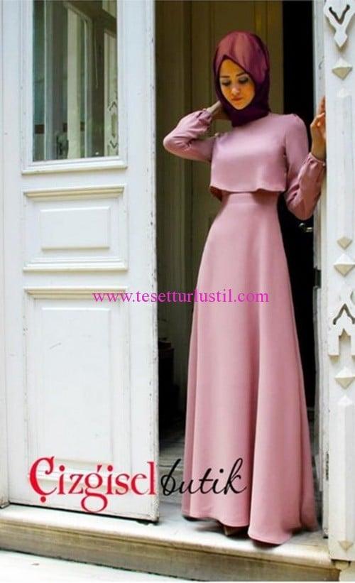 Çizgisel Butik lila sade abiye elbise