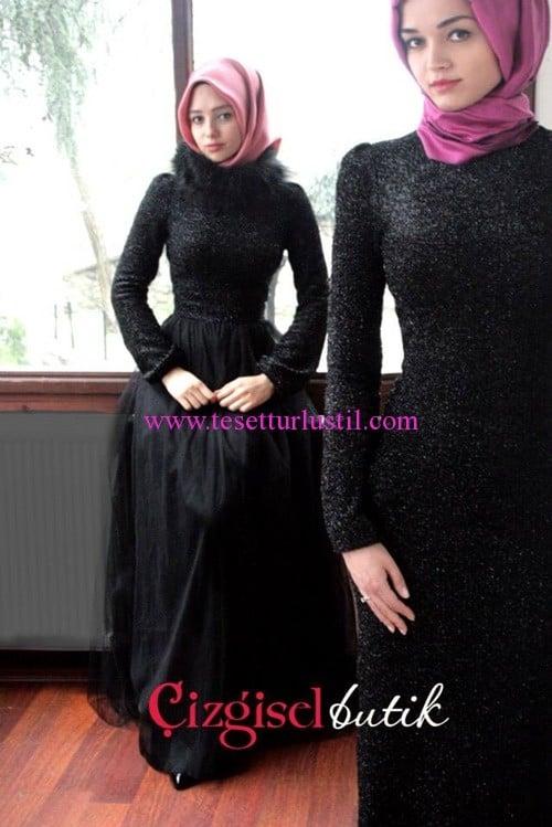 Çizgisel Butik siyah simli tesettür abiye elbise modelleri