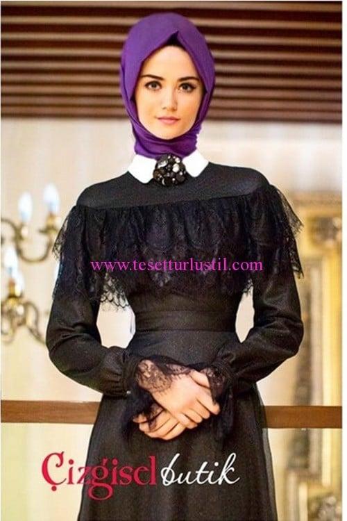 Çizgisel Butik siyah tül detaylı abiye elbise