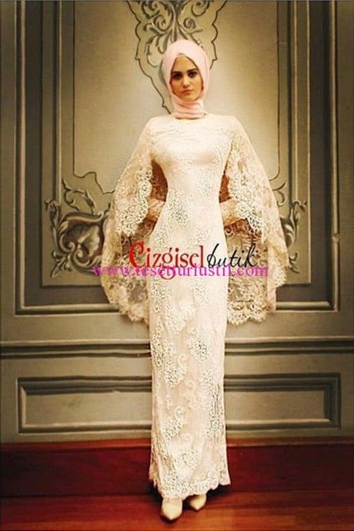 Çizgisel Butk dantel detaylı abiye elbise