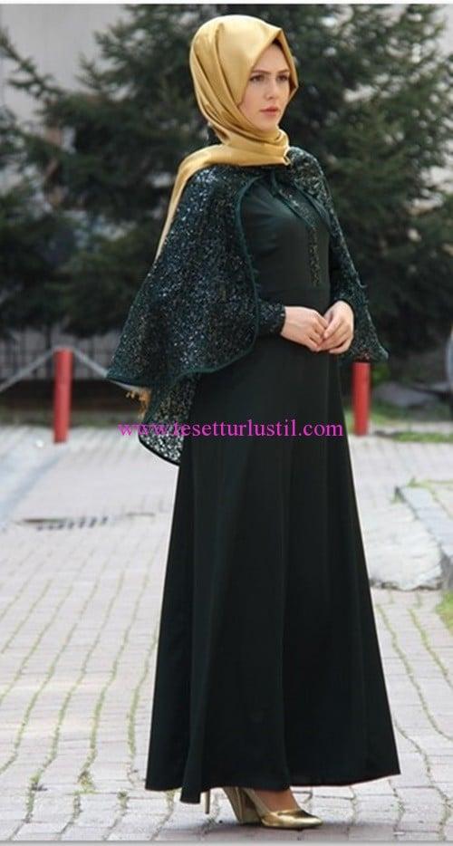 İzotantik zümrüt pelerinli tesettür abiye elbise-260 TL