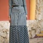 Annah Hariri 2016 checkered mixed dress