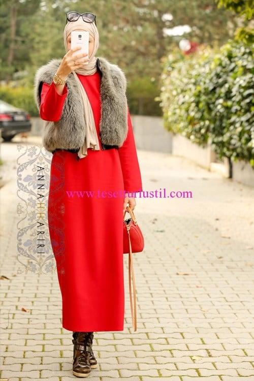 Annah Hariri 2016 kırmızı kalem elbise