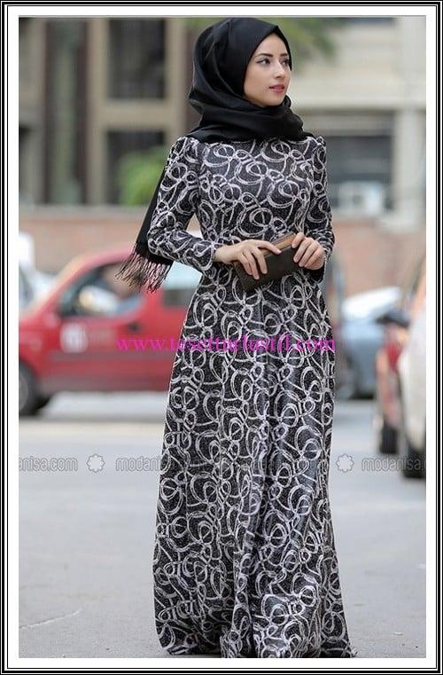 Zehrace gri desenli tesettür elbise-200 TL