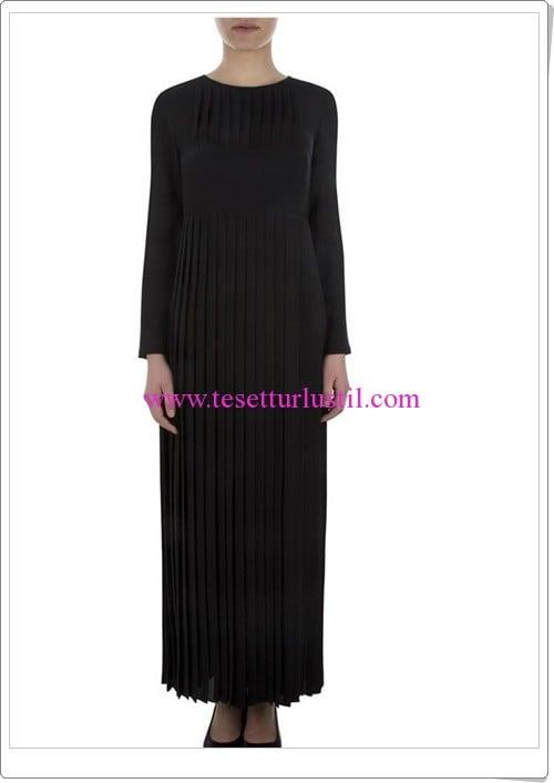Aker pileli siyah uzun elbise-285 TL