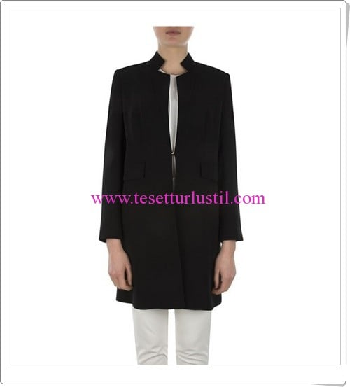 Aker siyah uzun ceket modellerit-285 TL