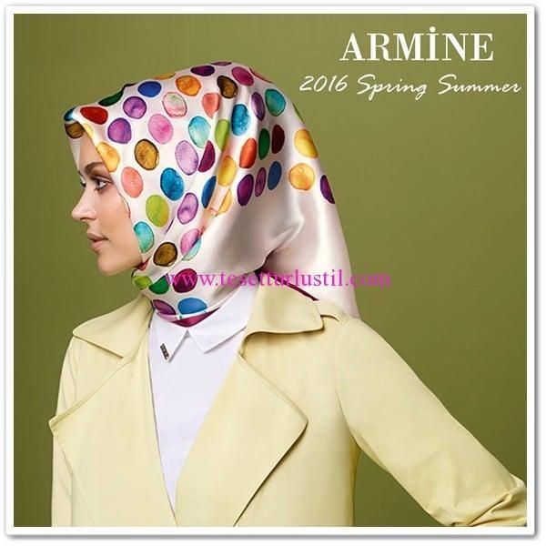 Armine 2016 renkli noktalı eşarp modelleri