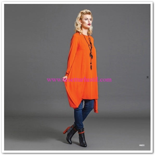 Huşe Giyim 2016 turuncu salaş tunik