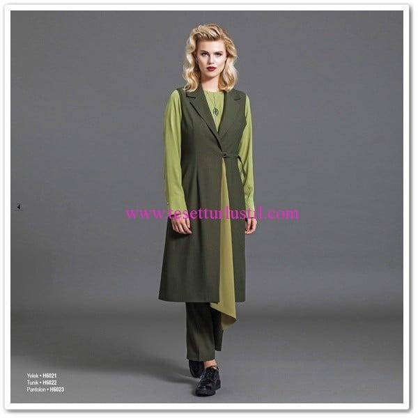 Huşe yeşil tunik-pantolon takım