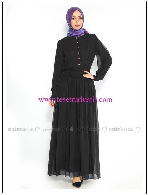 dugmeli-elbise-siyah-duay