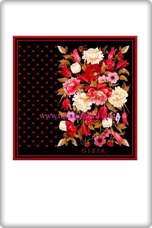 Gizia çiçek desenli siyah eşarp-154 TL