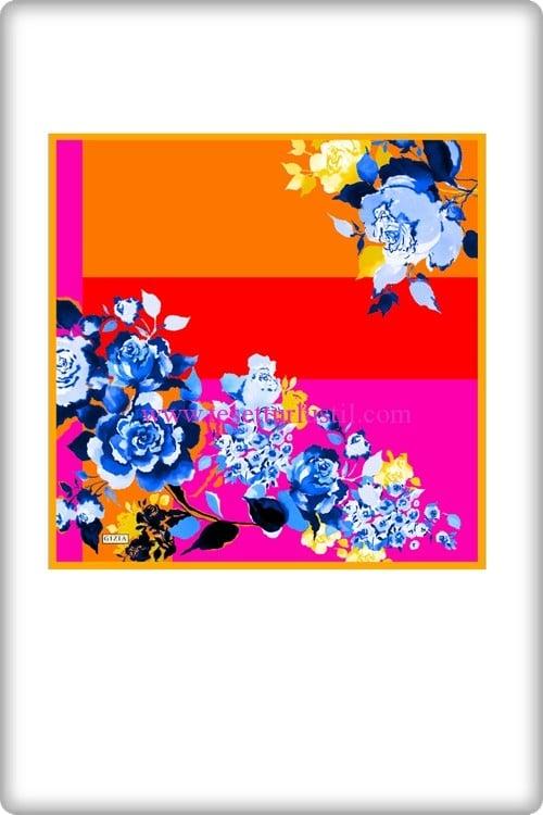 Gizia turuncu-pembe çiçek desenli eşarp-154 TL
