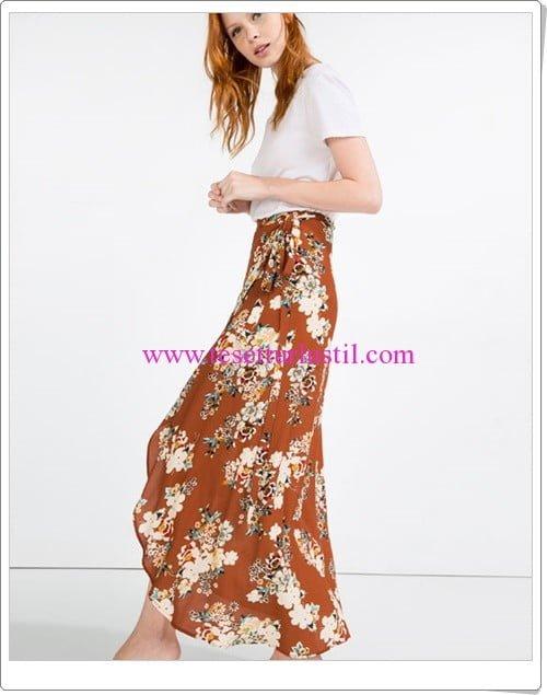 Zara kiremit rengi çiçekli maxi elbise-150 TL