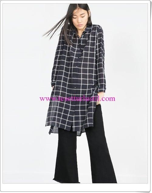 Zara lacivert kareli uzun gömlek tunik-100 TL