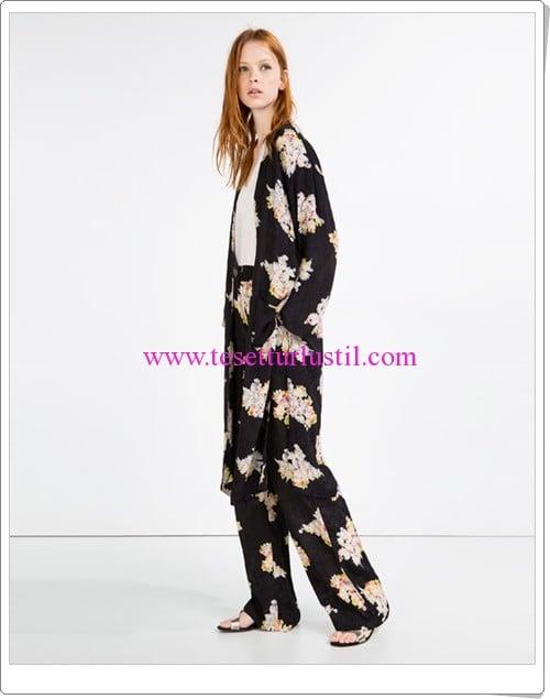 Zara siyah desenli jakar baskılı uzun kimono ceket-180 TL