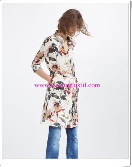 Zara ten rengi çiçek desenli kuşaklı tunik-150 TL