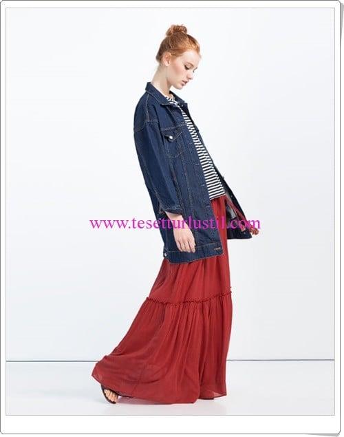 Zara uzun kiremit rengi etek-100 TL