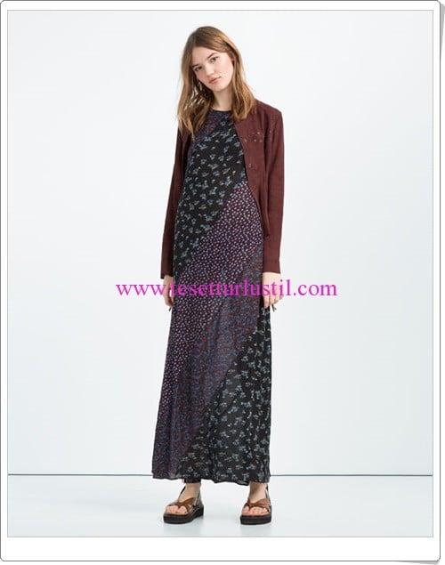 Zara uzun patchwork elbise-100 TL