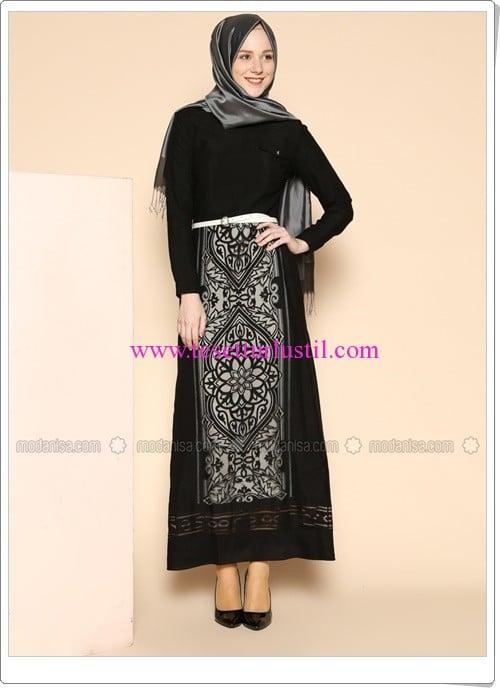 kemerli-şaal-desenli-elbise-siyah-puane-260 TL