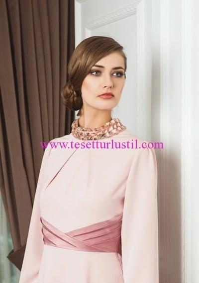 Doque yaaksı taş işlemeli pudra abiye elbise