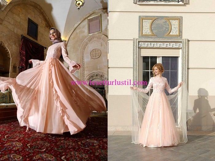 Tuay Karaca açık somon abiye modelleri