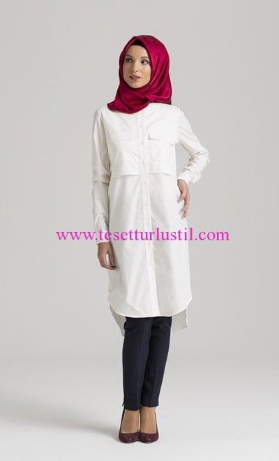 Tuğba Venn beyaz poplin gömlek tunik
