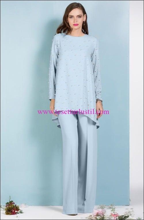 senna-design-pearl-mavi bol pantolon