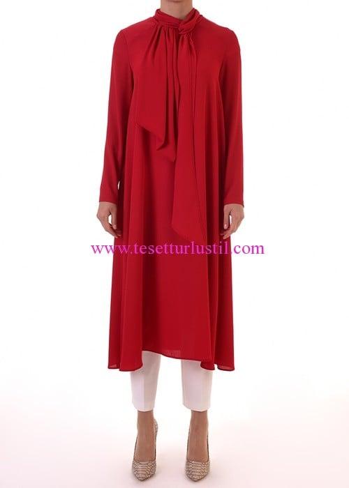 Armağan Giyim kırmızı fularlı tunik