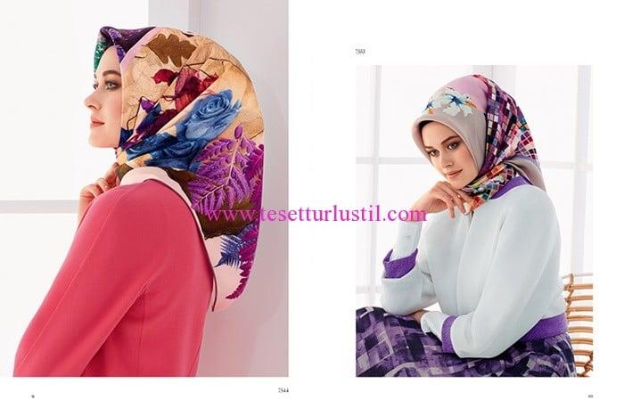 Armine 2017 lila desenli eşarp modelleri