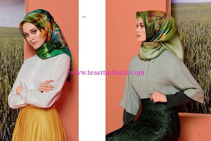 Armine 2017 yeşil desenli eşarp modelleri