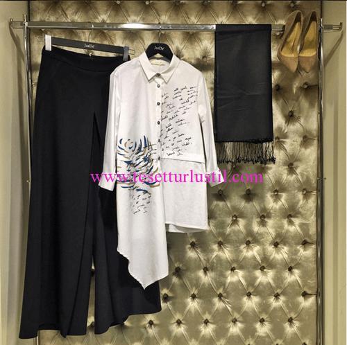 Jaade beyaz asimetrik tunik-pantolon etek kombini