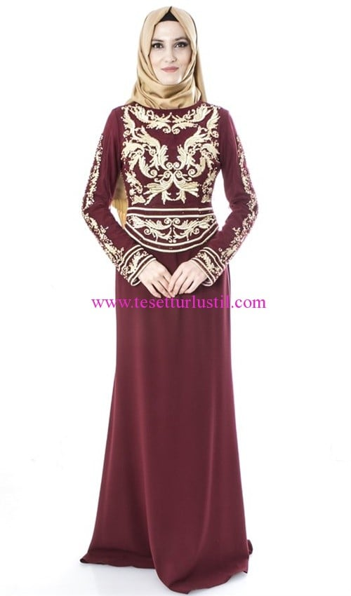 setrms işlemeli bordo abiye elbise