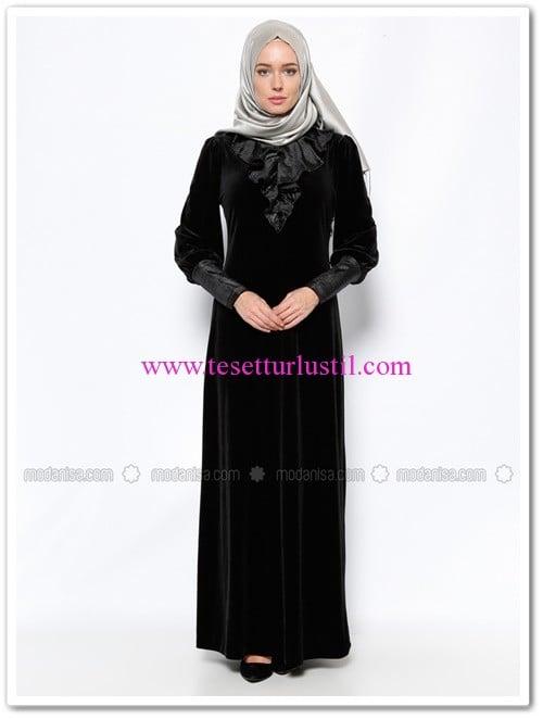 kadife-elbise-siyah-ginezza