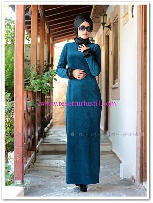 kadife-elbise-turkuaz-selma-sari-design