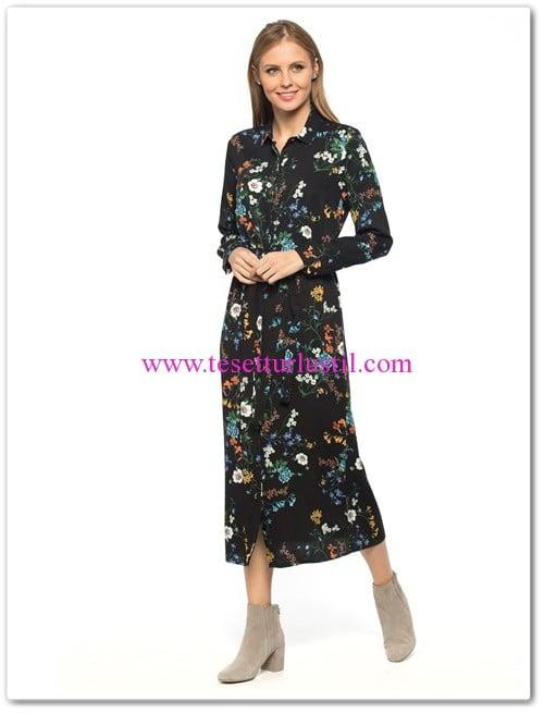 lc waikiki çiçekli uzun kapalı elbise