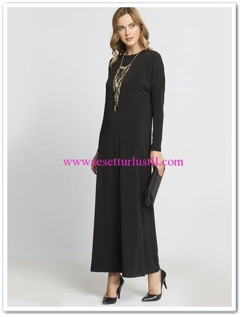 lc waikiki basic uzun siyah elbise