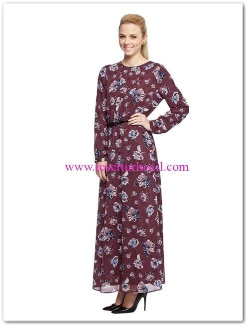 lc waikiki bordo çiçek desenli uzun elbise
