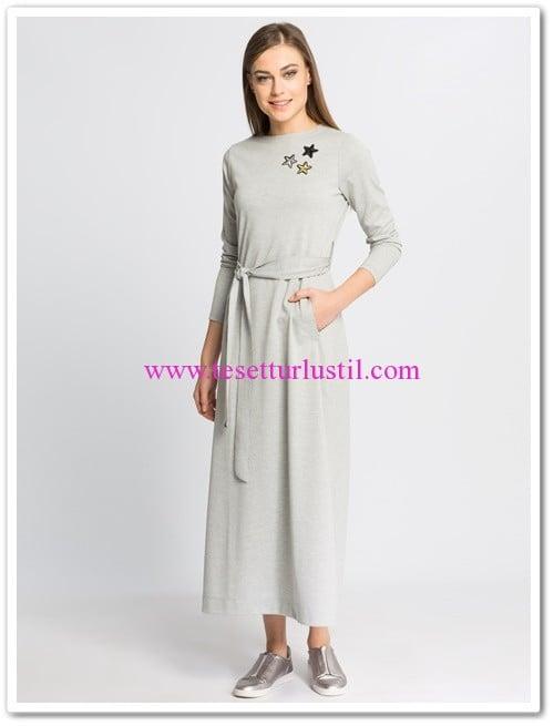 lc waikiki gri kuşaklı uzun kapalı elbise