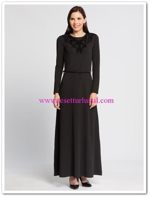 lcw siyah düz uzun tesettür elbise
