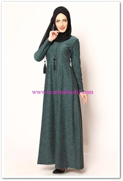 modamerve kolyeli karyağdı yeşil elbise