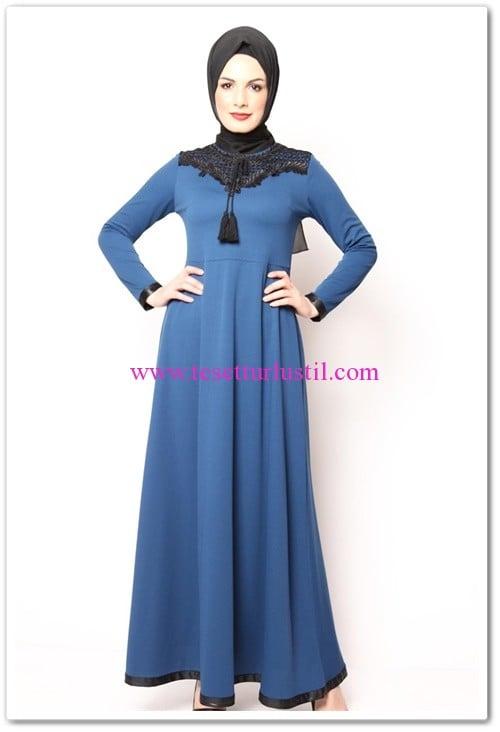 modamerve petrol mavisi şeritli tesettür elbise