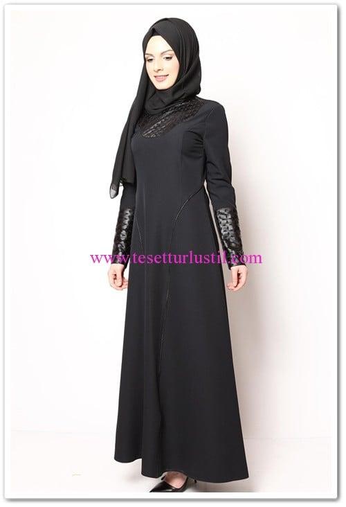 modamerve siyah lazer kesimli elbise
