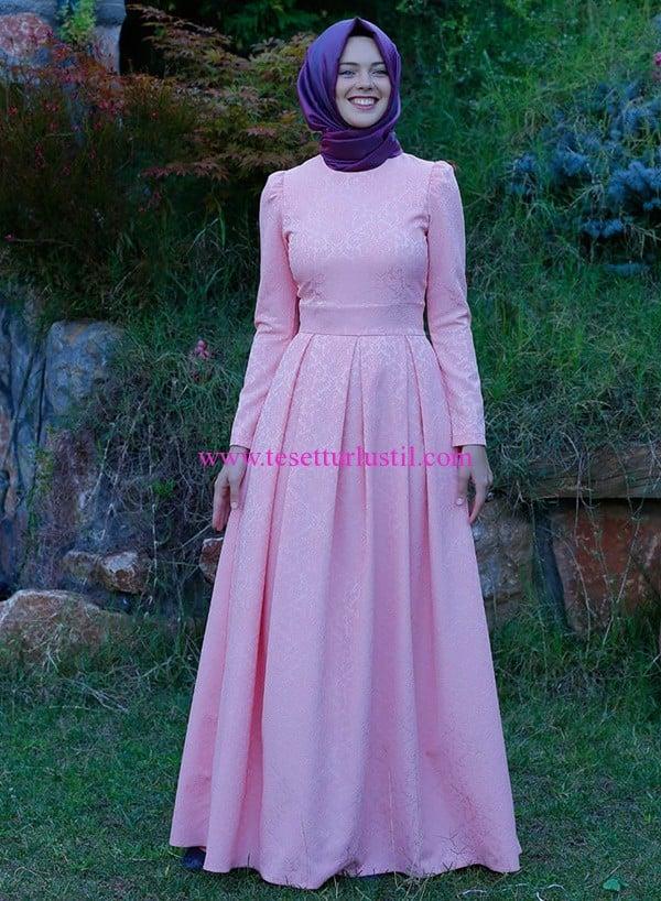 kübra biriktir alya brokar somon elbise