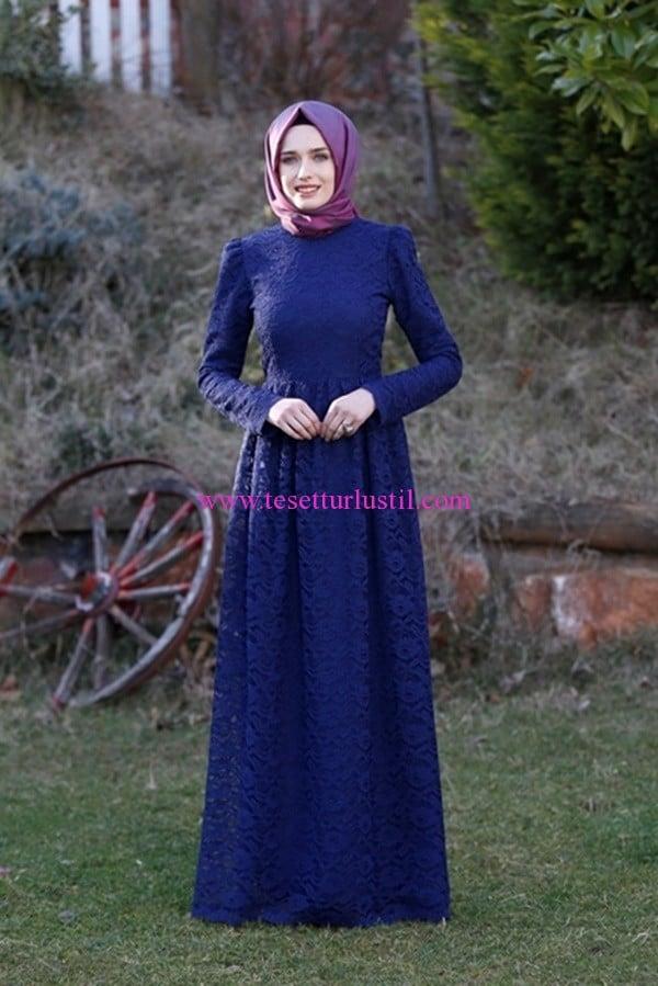 kübra biriktir diandra lacivert dantel elbise
