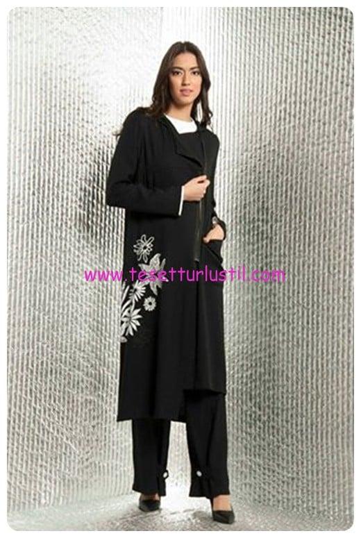 mascara 2017 siyah baskılı uzun ceket