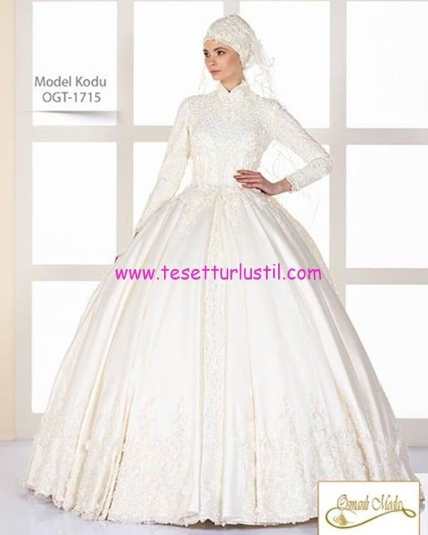 osmanlı moda 2017 kabarık etekli tesettür gelinlik